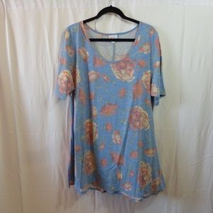 LuLaRoe Perfect T Tiffany Blue with Coral Roses 2X